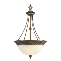 Progress Lighting - Progress Lighting Savannah Traditional Inverted Pendant Light X-68-2453P - This timeless Savannah Traditional Inverted Pendant Light by Progress Lighting will stand out in your dining area or hallway. Featuring a unique Pineapple patterned border, with a finish in Burnished Chestnut. The shade is made of Antique Alabaster glass.