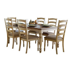 Homelegance - Homelegance Nash 8 Piece Rectangular Extension Dining Room Set in Oak - Country visits town in the earthy Nash Collection. This casual solid wood dining room offering is featured in a warm two-tone buttermilk and medium tone burnished oak finish. Updated ladder-back chairs flank and feature arched & beveled detail. The dining group is further complimented by a small china that features storage shelving that is fronted by wood-framed glass doors and wine bottle & hanging glass rack storage.