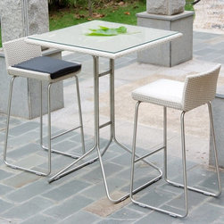 TOSH Furniture - Outdoor Wicker Bar Set - TOS-GW3109SET - Set includes 2 Bar Chairs and Bar Table
