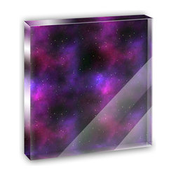 """Made on Terra - Purple Space Nebula Mini Desk Plaque and Paperweight - You glance over at your miniature acrylic plaque and your spirits are instantly lifted. It's just too cute! From it's petite size to the unique design, it's the perfect punctuation for your shelf or desk, depending on where you want to place it at that moment. At this moment, it's standing up on its own, but you know it also looks great flat on a desk as a paper weight. Choose from Made on Terra's many wonderful acrylic decorations. Measures approximately 4"""" width x 4"""" in length x 1/2"""" in depth. Made of acrylic. Artwork is printed on the back for a cool effect. Self-standing."""