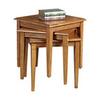 Leick Furniture - Leick Furniture Favorite Finds Stacking Table Set in Medium Oak Finish - Leick Furniture - End Tables - 9004MED - This three table set stacks compactly into a small space when stored but quickly arrays to nearly seven square feet of additional serving space when needed. All solid wood construction means they are built to hold up and meant to be used. All three tables can be arranged side by side to function as a compact coffee table or used to hold coasters and servings trays when stacked. The hand applied multi-step Medium Oak Finish will provide a lasting beauty for many years of use.