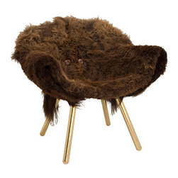 """Woolly Chair - My first thought was """"Wow, this chair is WEIRD."""" My second thought was """"And I DIG IT!"""" You've been playing with throwing sheepskin throws over things, why not take it a step further?"""