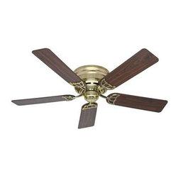 """Hunter Fan Company - 52"""" Low Profile III Brass Fan - 52"""" Low Profile III - Hunter Bright Brass finish Ceiling Fan. Five Walnut/Medium Oak blades. Whisper Wind motor. Designed for low ceilings"""
