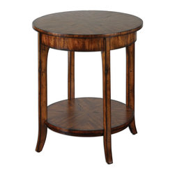 Uttermost - Uttermost Carmel Round Lamp Table 24228 - Casual styling in warm, old barn finish with distressed primavera veneer.
