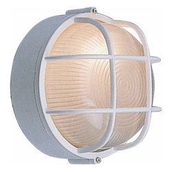 """Volume Lighting - Volume Lighting V6890 Nautical, Energy Saving Outdoor 2 Light 10"""" Height Outdoor - Energy Saving Outdoor Two Light 10"""" Height Outdoor Wall Sconce with Frosted Ribbed Glass from the Nautical CollectionDecorate your outdoors with style with this marvelous 2 light energy saving outdoor wall sconce featuring charming frosted ribbed glass.Features:"""