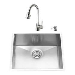 """VIGO Industries - VIGO All in One 23-inch Undermount Stainless Steel Kitchen Sink and Faucet Set - Breathe new life into your kitchen with a VIGO All in One Kitchen Set featuring a 23"""" Undermount kitchen sink, faucet, soap dispenser, matching bottom grid and sink strainer."""