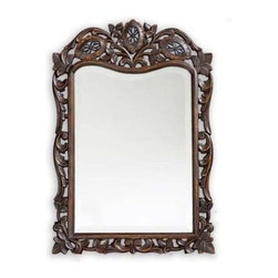 St. Augustine Ornate Mirror - 20W x 29H in. - The St. Augustine Ornate Mirror is an elegant accessory that fits perfectly into any room in your home. At 20 inches by 29 inches you can find a place for it anywhere and its highly detailed design will draw more than its fair share of attention. The carving of the frame is simply marvelous and you'll be in awe of the craftsmanship. About the Howard Elliott CollectionThe Howard Elliott Collection is one of the premiere manufacturers of decorative mirrors and accessories in the home furnishings industry. Howard Elliott offers innovative designs in a wide variety of styles and the company prides itself on its high standards and quality. No matter your style the Howard Elliott Collection offers pieces that are sure to add sophistication and luxury to your decor. In the company's meteoric rise it now ships to nearly 3 500 furniture home furnishings and lighting retailers as well as many of the top contract companies servicing the hotel and building industries worldwide.