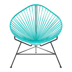 Acapulco Chair, Turquoise Weave On Black Frame - The Acapulco Chair - contemporary lounge or occasional chair suitable for indoors and out.  Composed of a tripod metal base and seat woven with vinyl cord. The Acapulco chair is similar in construction and form to our Innit chair though slightly more reclined with a pear shaped frame.  The galvanized steel is rust resistant and the very durable yet flexible, UV protected vinyl will stay colorfast for years.  This chair is incredibly comfortable without a cushion.  Its weatherproof, breathable, easy to clean, and available in everybodys favorite color. *Please refer to swatch image for accurate product color variations.