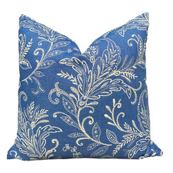 "PillowFever - Blue and White Linen Pillow Cover With Flower Print, 19""x19"" - This beautiful linen pillow cover has white floral print on atlantic blue background. Main Colors are: white, atlantic blue."