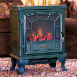 Comfort Smart - Comfort Smart Americana Green Electric Fireplace Stove with Remote Control - CS- - One of our top selling freestanding models, the Comfort Smart Americana is polished and sleek with a contemporary design. Compact and lightweight, it can easily be moved to warm any room of the house.