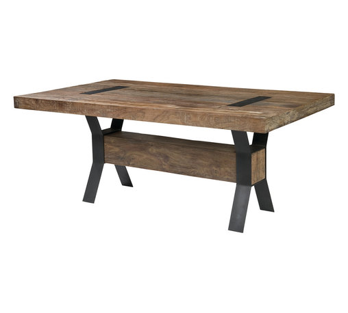 "Four Hands - Tyson Dining Table, 72"" - This industrial-inspired dining table is a beautiful blend of salvaged Brazilian peroba wood and iron. Made for conscious living and designed by Thomas Bina, each artfully crafted dining table is a unique treasure that will last for years to come."