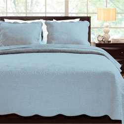 Greenland Home Fashions - Greenland Home Fashions Serenity Cotton Quilt Set - GL-1302JMST - Shop for Bedding Sets from Hayneedle.com! Today s Zen moment is right down the hall tucked within the folds of the Greenland Home Fashions Serenity Cotton Quilt Set. Crafted with a soft 100% cotton face back and fill this lofty quilt set includes a quilt and one or two coordinating shams. Each piece boasts a machine-quilted chrysanthemum blossom stitch plus a pretty bound scalloped edge. The quilt is oversized too for better coverage on today s deeper mattresses. Prewashed and pre-shrunk the set is machine washable for easy care. Choose from available sizes and quiet colors.Bedding Set Components:Twin: Quilt 1 shamQueen: Quilt 2 shamsKing: Quilt 2 shamsQuilt dimensions:Twin: 88L x 68W in.Queen: 90L x 90W in.King: 105L x 95W in.About Greenland Home FashionsFor the past 16 years Greenland Home Fashions has been perfecting its own approach to textile fashions. Through constant developments and updates - in traditional country and more modern styles the company has become a leading supplier and designer of decorative bedding to retailers nationwide. If you're looking for high-quality bedding that not only looks great but is crafted to last consider Greenland.