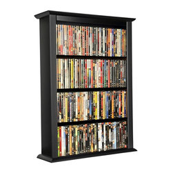 Venture Horizon - Wall Mount Media Cabinet in Black Finish w Ad - Mounts on any wall. Adjustable shelving. Large storage capacity. Solid, sturdy and easy to clean. Constructed from durable, stain resistant and laminated wood composites that includes MDF. Made in the USA. Assembly required. Media storage capacity:. CD's : 342. DVD's : 160. Blu-ray's: 192. VHS tapes: 88. Disney tapes: 54. Audio cassettes: 300+. Weight: 28 lbs.. Shelf depth: 6 in.. Assembled size: 28 in. W x 8.5 in. D x 36.25 in. HYou may have seen other Wall Mounted Media Cabinets but you have never come across the styling, variety, storage capacity or value for the money, anywhere. Nobody does it better! We beat the competition...hands down. We offer 3 sizes in 5 colors. We also did not skimp on the sizing like many other manufacturers. Free up needed floor space. Our Wall Mounted Media Cabinets will indeed hold an entire media collection and then some. Our units hold nearly twice (2X) more media (CD's, DVD's and blue-rays) than our leading competitors. Not only that but our units are also less expensive. All that in a wall hugging slim cabinet design. Shelves are only 6 in. deep but a generous 23 in. wide. Each shelf will hold approximately 20 lbs. The 28 in. wide Single Cabinet has 5 adjustable shelves plus the fixed base. The 52 in. Double has 10 adjustable shelves plus 2 base sections for storage.