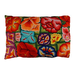 "Oaxacan Meadow Flower Pillow - Gorgeous pillow made from hand embroidered textiles from Oaxaca. The large size looks amazing in any room. Use it as a floor throw pillow or on a sofa or bed. Insert included. Side zipper. Green fabric back. Size: 24""x32"""