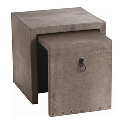 "Arteriors - Equus Nesting Tables, Set of 2 - The Equus collection evokes mid-century waterfall design with a new twist. This nested table set is finished with shagreen embossed leather. The side panels feature ringed horsehead pulls in a bronze finish. Large: 22"" W x 20"" D x 24"" H  Small: 24"" W x 17"" D X 22"" H"