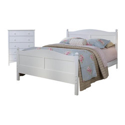 Bolton Furniture - Cottage Queen Bed w Essex Chest in White Finish - Includes Cottage queen headboard, footboard and side rails and Essex drawer chest. Bed:. Queen size bed. 64 in. L x 85 in. W x 47 in. H. Drawer chest:. 5 Drawers. Features shaker style case pieces. Dovetailed drawers and self-closing under mount glides. Made of solid maple and maple veneers. 36 in. W x 19 in. D x 46 in. H (124 lbs.). White finish. Assembly required. 1-Year warranty