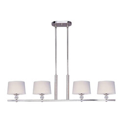 Maxim Lighting - Maxim Lighting Rondo 4-Light Pendant Polished Nickel - 12759WTPN - Cool, clean and contemporary are just a few words to describe the Rondo collection. Rectangular arms are bent to form graceful curves and are finished in Polished Nickel. The sharpness of the frame is softened with the use of round crystal glass balls. The White fabric shades are fit with white diffusers that evenly light the room.