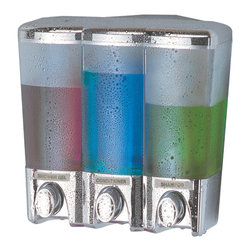 Better Living Clear Choice 3 Chrome Dispenser - 72344 - With its clean and simple design, the ClearChoice Dispenser can be used in any shower within your home! The translucent container allows you to clearly see which liquids are inside and how much is left. Corner or flat wall installation - the choice is yours! Don't forget to store extra items on the attachable shelf, included for corner applications.