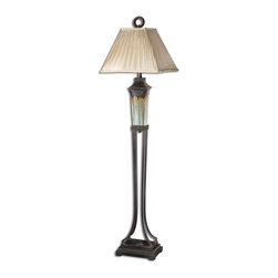 Uttermost - Uttermost 28545 Olinda Floor Lamp - Light Green And Metallic Brown Porcelain Body With Antiqued Dark Brown Metal Details.