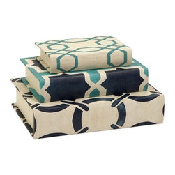 """IMAX - Hadley Book Boxes - Set of 3 - Inspired by nautical shades and patterns, the set of three Hadley book boxes add a contemporary twist to any tabletop or book shelf. Item Dimensions: (5.25-7-8.75""""h x 8-10.25-12.75""""w)"""