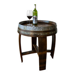 "Alpine Wine Design - Banded Wine Barrel Side Table with Cross-braces, 24"" tall - Handcrafted from a recycled Napa wine barrel, our end table lends rustic beauty to any living space. We've finished the stained oak surface to georgous a sheen with multiple layers of cabinet-grade lacquer and included the original metal barrel bands for interest. Measures approximately 24"" in diameter and 24"" tall. Artisan crafted in Colorado."