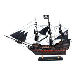 """Handcrafted Model Ships - Captain Kidd's Black Falcon Limited 15"""" - Decorative Wooden Pirate Ship - Sold Fully Assembled"""