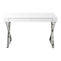 Advanced Interior Designs - Frank Two Drawer Desk, White Lacquer - Accent a distinctive decor with stylish Frank Desk. Geometric polished stainless steel legs are shaped to form a stable, stylish base. Smooth table top with two concealed front panel drawers complete the unit. Frank Desk features European soft-closing glides enable effortless drawer movement.