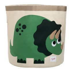 3 Sprouts - Dinosaur Storage Bin - These cute dinosaur storage bins make bedroom clean-up fun activity for kids! Made of a strong cotton canvas, this bin is tough enough to hold whatever you throw in it, but cute enough to complement the best dressed home. It's well-sized for storing toys, books, or laundry, yet saves space by folding easily when not in use. The 3 Sprouts storage bin makes a perfect gift for babies, toddlers and kids.