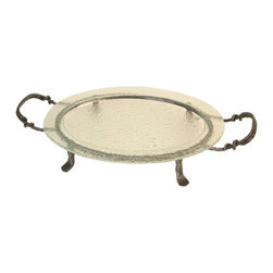 Danya B - Oval Textured Glass Serving Platter and Iron Stand with Handles - This gorgeous Oval Textured Glass Serving Platter and Iron Stand with Handles has the finest details and highest quality you will find anywhere! Oval Textured Glass Serving Platter and Iron Stand with Handles is truly remarkable.