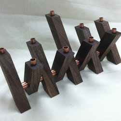 Chanukah Menorah in Solid Walnut and Copper by Nelson Crossing - This walnut and copper design would be welcomed into any modern home. The delightful interpretation by Nelson Crossing is a unique Etsy find.