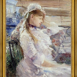 "Berthe Morisot-16""x20"" Framed Canvas - 16"" x 20"" Berthe Morisot Behind the Blinds framed premium canvas print reproduced to meet museum quality standards. Our museum quality canvas prints are produced using high-precision print technology for a more accurate reproduction printed on high quality canvas with fade-resistant, archival inks. Our progressive business model allows us to offer works of art to you at the best wholesale pricing, significantly less than art gallery prices, affordable to all. This artwork is hand stretched onto wooden stretcher bars, then mounted into our 3"" wide gold finish frame with black panel by one of our expert framers. Our framed canvas print comes with hardware, ready to hang on your wall.  We present a comprehensive collection of exceptional canvas art reproductions by Berthe Morisot."