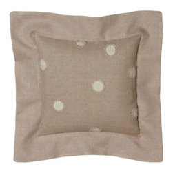 """Rose Tree - Rose Tree Dotted Pillow w/ Flange, 12""""Sq. - Easy-to-live-with bed linens in subtle tones of blue and oatmeal. Oversized comforters with fiber-reactive paisley print have folded fill at the corners for greater loft. Shams and pillows add plenty of interest to the look. Imported. Queen comforter s..."""