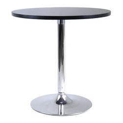 "Winsome Wood - Winsome Wood Spectrum 29 Inch Round Dinning Table w/ Metal Leg - 29 Inch Round Dinning Table w/ Metal Leg belongs to Spectrum Collection by Winsome Wood 29"" Round dining table made of durable MDF with a matte black finish and a metal leg with chrome finish. Perfect for small dining areas; it has contemporary styling and is a great match with our 93220 swivel chairs. Dinning Table (1)"
