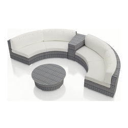 Harmonia Living - Urbana Eclipse 4 Piece Round Sectional Set, Canvas Natural Cushions - Create the perfect outdoor gathering with the Harmonia Living Urbana Eclipse 4 Piece Modern Patio Round Sectional Sofa Set with White Sunbrella cushions (SKU HL-URBN-E-WS-4SEC-CN), featuring clean curves and brushed aluminum feet. This modern round sofa's seating is a great match for patios with fire pits or circular tables. The seats are made of High-Density Polyethylene (HDPE) wicker infused with a Weathered Stone color and UV protection, surpassing the quality of natural rattan. Underneath the resin wicker is a thick-gauged aluminum frame, providing superior corrosion resistance. Few curved outdoor sofa sets offer this level of quality at such an affordable price. Fire pit not included.