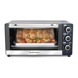 HamiltonBeach - 6-Slice Toaster Oven - Includes bake pan and broil grid. Fits 12-inch pizza. Saves time and energy by reheating 28% faster and using 65% less energy. Bell timer with auto shut Off. Slide-out crumb tray for easy cleanup. Total wattage: 1300 W. Warranty: One year limitedThe 6-Slice Toaster Oven is a two-in-one appliance for toasting, baking and more. The oven can help in countless ways around the kitchen, all while saving space and time. Toast, bake, broil or roast, with this convenient oven to suit busy lifestyles. Toast bagels, English muffins and other breads with consistently delicious results.