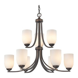 Design Classics Lighting - Contemporary Bronze Chandelier and Satin White Glass Shades - 586-220 GL1028D - Neuvelle bronze two tier chandelier with satin white dome glass shades and nine lights. Takes (9) 100-watt incandescent A19 bulb(s). Bulb(s) sold separately. UL listed. Dry location rated.