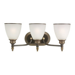 Seagull - Seagull Laurel Leaf - Estate Bronze Bathroom Lighting Fixture in Estate Bronze - Shown in picture: 44351-708 Three-Light Wall / Bath in Estate Bronze finish with Etched Ripple Glass