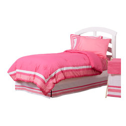 Simplicity Hot Pink - Full Set (4pc no sheets) - Let the simple side of Simplicity Hot Pink bring out the sweetness in your room!  Simplicity Hot Pink is nothing too sweet for any personality!  Beautiful hues of pink with white throughout make the most of this set.  This 4pc set includes full comforter, full bed skirt, 2 standard flanged pillow shams.  Comforter comes a beautifully framed design in shades of pink, light pink and white.  Opposite side is in solid darker pink.  All in cotton print fabric.  Bed skirt designed with lines of white and both color pinks in cotton print fabric. Standard flanged sham designed to replicate comforter in design.  All in cotton print fabric.  SAVE WHEN YOU BUY AS A SET!