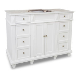 "Hardware Resources - Lyn Design VAN094-48-NT - This 46-7/8"" wide MDF vanity features a sleek white finish, clean lines and tapered feet to give a modern feel. A perfect alternative to a pedestal sinks. A large cabinet provides storage."