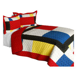 Blancho Bedding - [Moving] Cotton Vermicelli-Quilted Patchwork Geometric Quilt Set-Queen - The [Moving] Cotton Vermicelli-Quilted Patchwork Geometric Quilt Set-Queen includes a quilt and two quilted shams. This pretty quilt set is handmade and some quilting may be slightly curved. The pretty handmade quilt set make a stunning and warm gift for you and a loved one! For convenience, all bedding components are machine washable on cold in the gentle cycle and can be dried on low heat and will last for years. Intricate vermicelli quilting provides a rich surface texture. This vermicelli-quilted quilt set will refresh your bedroom decor instantly, create a cozy and inviting atmosphere and is sure to transform the look of your bedroom or guest room. (Dimensions: Full/Queen quilt: 90.5 inches x 90.5 inches; Standard sham: 24 inches x 33.8 inches)
