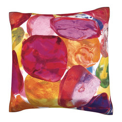 Custom Photo Factory - Colorful Stones Pillow  Polyester Velour Throw Pillow - Colorful Stones Pillow 18 Inches x 18  Inches.  Made in Los Angeles, CA, Set includes: One (1) pillow. Pattern: Full color dye sublimation art print. Cover closure: Concealed zipper. Cover materials: 100-percent polyester velour. Fill materials: Non-allergenic 100-percent polyester. Pillow shape: Square. Dimensions: 18.45 inches wide x 18.45 inches long. Care instructions: Machine washable