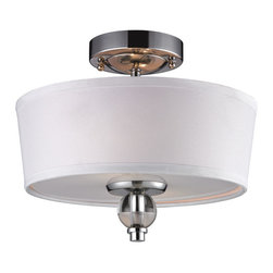 Elk Lighting - Elk Lighting 31284/2 2- Light Semi-Flush in Polished Chrome - 2- Light Semi-Flush in Polished Chrome belongs to Martina Collection by Elk Lighting This Series Has Gently Arching Arms With Clear Glass Spheres Encircling The Mid-Century Modern Center Column. The Body Has Polished Chrome Metal Elements That Taper Inward To A Large Clear Glass Sphere Core. Flush Mount (1)