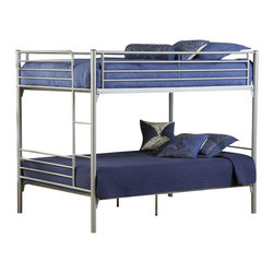 Hillsdale Furniture - Universal Youth Full over Full Bunk Bed in Si - NOTE: ivgStores DOES NOT offer assembly on loft beds or bunk beds. Includes deck and rails. Mattress not included. 80.5 in. L x 56.5 in. W x 66.5 in. H. Bunk Bed Warning. Please read before purchase.The Silver and Navy Universal youth bedroom offers super solutions for any kids room, whether you choose the traditional bed, the bookcase headboard with under bed storage, the Loft bed or bunk beds. Add any combination of case goods to create the perfect home base for your child, tween or teen.
