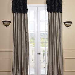 Ruched Thai Silk Curtain - Midnight Black Header & Silver Grey Panel - We've taken our popular Thai Silk panels and added a ruched header valance creating the most luxurious, over the top style in window treatments out there. This style was designed and meant to be stationary and used as decorative panels to frame out your window. Choose from a pre-designed collection or Create Your Own.