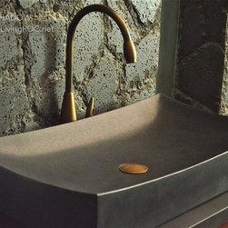 """TOJI SHADOW 27""""X16"""" BLACK GRANITE BATHROOM VESSEL SINK - Reference: BB502B-US"""