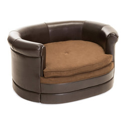 Great Deal Furniture - Rover Chocolate Brown Leather Dog Sofa Bed, Oval - Let your pet relax in style at no cost to comfort with the Rover Dog Sofa Bed. This sofa is upholstered in a polyurethane leather with a fabric area for your pet to comfortably lay. Designed with style in mind, this chocolate brown is neutral to match the indoor or outdoor decor of any home, while allowing your best friend to relax in style!