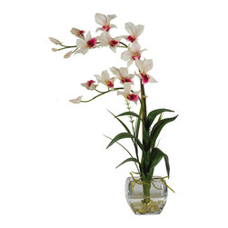 Nearly Natural - Dendrobium with Glass Vase Silk Flower Arrangement - Arching gracefully over natural stems and lifelike leaves, our Dendrobrium arrangement would be an elegant addition to any home or office decor. The whimsical orchid blooms skip along twining stems and create a gentle, refined design statement. A liquid illusion-filled glass vase perfectly finishes this beautiful arrangement. Colors: White; Pot Size: W: 4 in, H: 4 in. Height: 22 in; Width: 16 in; Depth: 8 in.