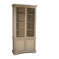 Zentique Brian Cabinet - This wire mesh front cabinet would make a wonderful kitchen pantry. The mesh partially obscures the items behind, while still feeling open and airy. Use glass containers and baskets for some of the food items to make it look more stylish.