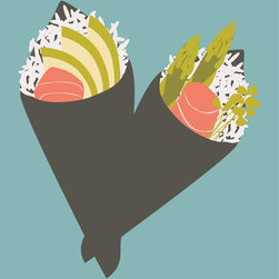 """Emma at Home - Handroll Print, Sea, 20"""" x 30"""" - Are you ready to make a sushi run? These two hand rolls will make you happy and hungry. Imagine this in a simple frame and hanging in a kitchen with big personality."""