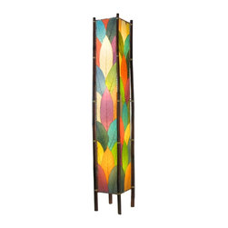 """Lamps Plus - Asian Eangee Fortune Tower Multicolor Cocoa Leaves 72"""" Floor Lamp - The striking shade of this floor lamp is made of cocoa leaves that have been put through a labor-intensive process of fossilization. The leaves are then stained in organic dyes and sealed. The wrought iron frame is powder coated and the legs are made of real bamboo which is hand-stained and bound with twine. A distinctive addition to any decor. Powder coat finish. Wrought iron frame. Fossilized cocoa leaf shade. Takes four 40 watt bulbs (not included). On-off foot switch. 11"""" wide. 72"""" high.  Powder coat finish.   Wrought iron frame.   Fossilized cocoa leaf shade.   Takes four 40 watt bulbs (not included).   On-off foot switch.   11"""" wide.   72"""" high."""